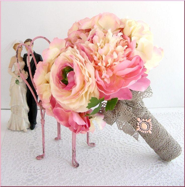 Bouquet de mariée romantique - Fleurs tissu - Rose/écru - Hortensias, Pivoines, Renoncules - Perles - mariage - wedding flower : Autres accessoires par el-tocado-de-lea