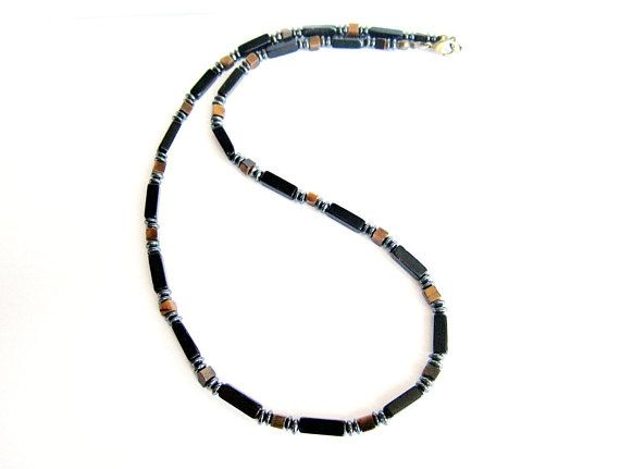 Beaded necklace for men tiger eye and black agate stone beaded necklace mens gemstone necklace brown black stones bead necklace gift for him