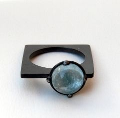 RING by     Senay Akin: Prince Rings, Cool Rings, Rings Aquamarines, Squares Prince, Blue Gems, Jewelry Rings, Oxidized Sterling Silver, Oxidized Silver, Squares Rings