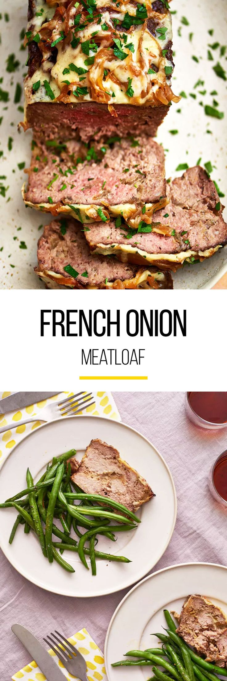 Dinnertime just got a little more comforting. This French onion meatloaf recipe is what you need to put into your weeknight meal rotation. Combining ground beef, veal, or pork, Worcestershire sauce, garlic, kosher salt, unseasoned dried breadcrumbs, yellow onion and Gruyère cheese makes this an all out crow-pleaser