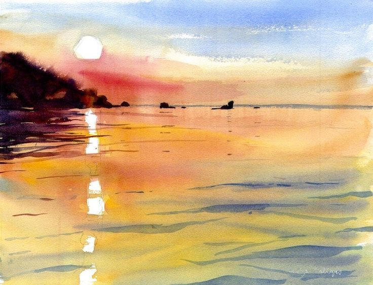 Risultati Immagini Per Watercolor Sunset Water Watercolor Sunset