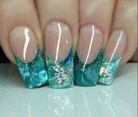 Aqua glitter swirl nails