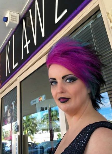 Funky Coloured Hair - Black, Turquoise Blue and Pink/Purple   (Hair & Makeup by KLAWZ for Costume Party)