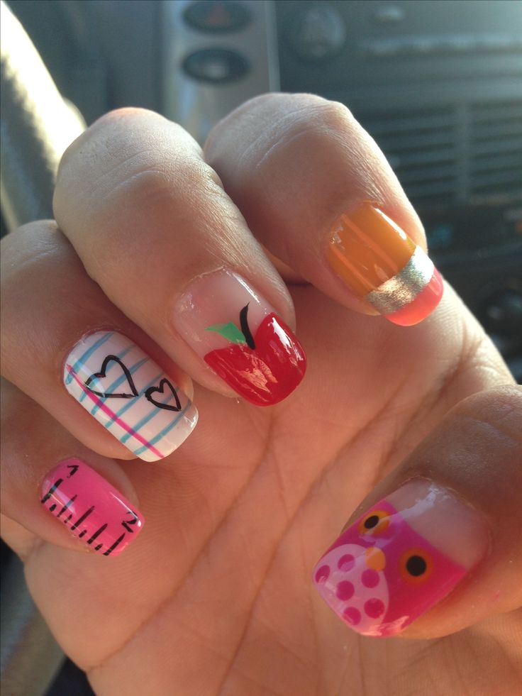 Back to school teacher nail art.