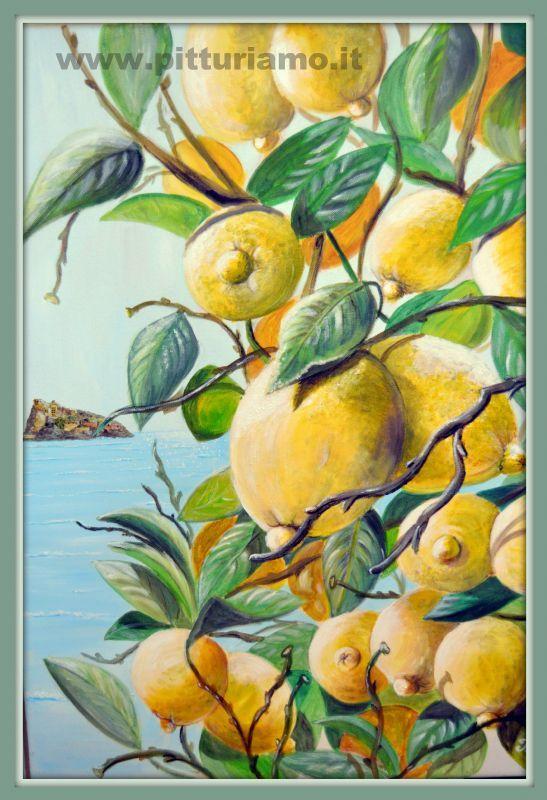 quadro realizzato dal pittore contemporaneo ANGELAIMPAGLIAZZO - limoni d'Ischia