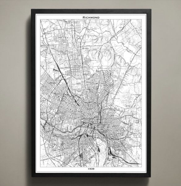 Print poster richmond map office collage inspiration