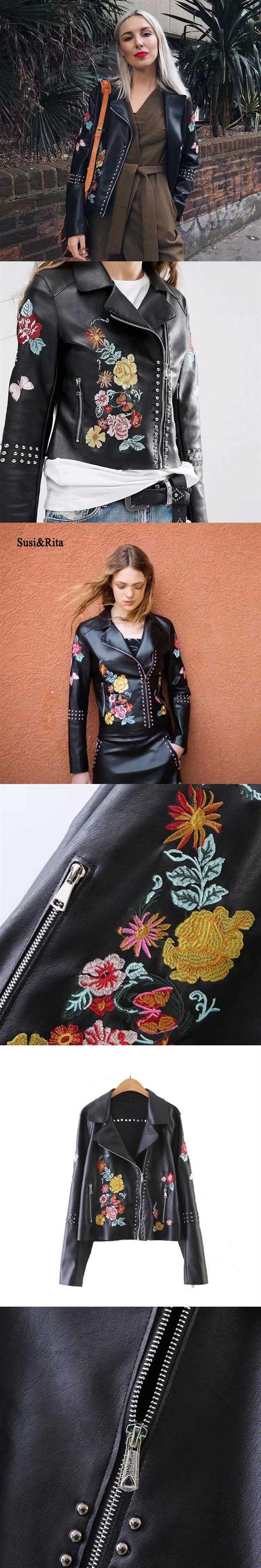 Susi&Rita Winter Leather Jacket Women 2017 Embroidery Black Leather Jackets Female Motorcycle Short Pu Jacket Coat Jaqueta