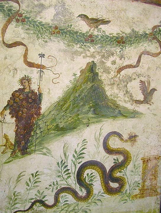 "Famous fresco showing Vesuvius and its patron god Dionysus, who ""inhabits"" a cluster of grapes and pours a libation of wine. From the House of the Centenary in Pompeii."
