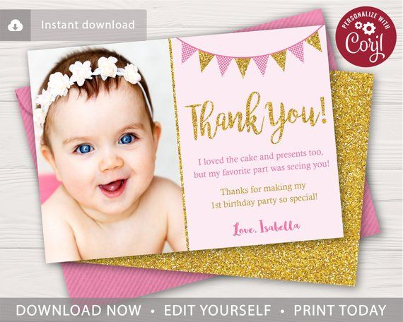 Pink And Gold Birthday Thank You Card With Photo Editable Etsy Birthday Thank You Cards Birthday Thank You Thank You Cards