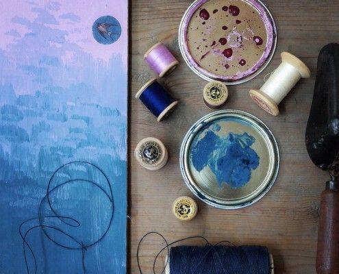 Muestras de color Chalk Paint - Annie Sloan: Aubusson Blue & Henrietta.
