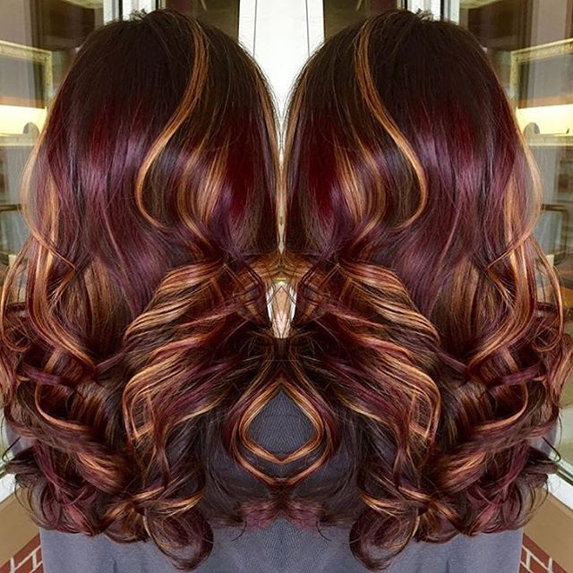 red violet base with copper highlights. winter inspiration.