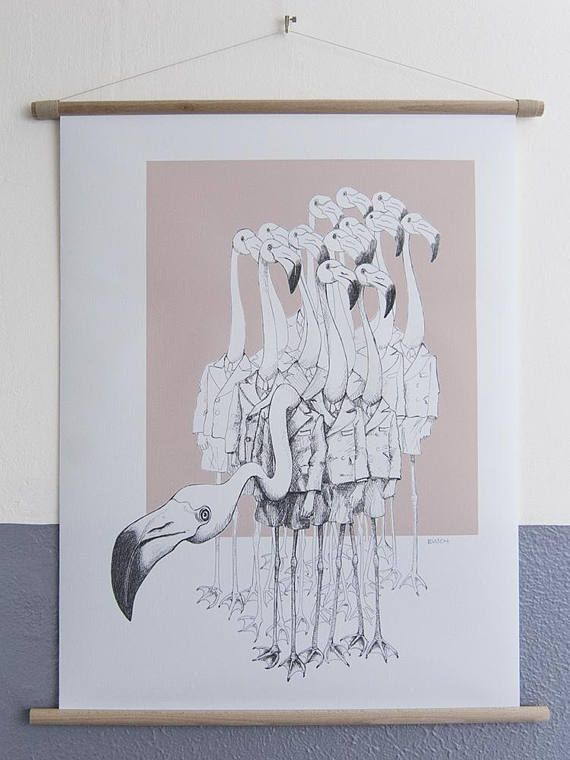 Flamingo Boys, black and white pen drawing / illustration. Large print on canvas with beechwood frame (like old school poster)  'Flamingo boys' features a group of flamingos wearing school uniforms.  Part of the series Weird & Wonderful with bizarre, unique, surrealistic pen drawings.  Animals and people in strange combinations. #flamingo #flamingos #canvasposter #weirdandwonderful #vrijformaat #popsurrealism #homedecor