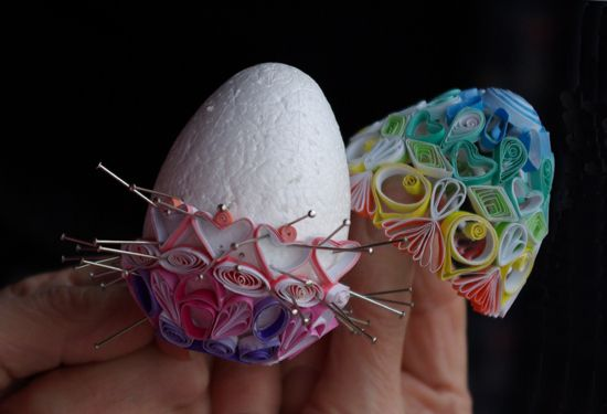 Hollow quilled egg made on polystyrene former