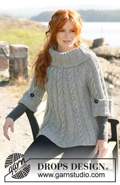 "Knitted DROPS jumper or tunic with cables, ¾ sleeves and large, wide collar in ""Nepal"". Size: XS to XXXL. ~ DROPS Design"