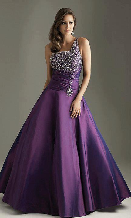 Purple Beaded A Line Prom Evening Party Ball Gown Formal