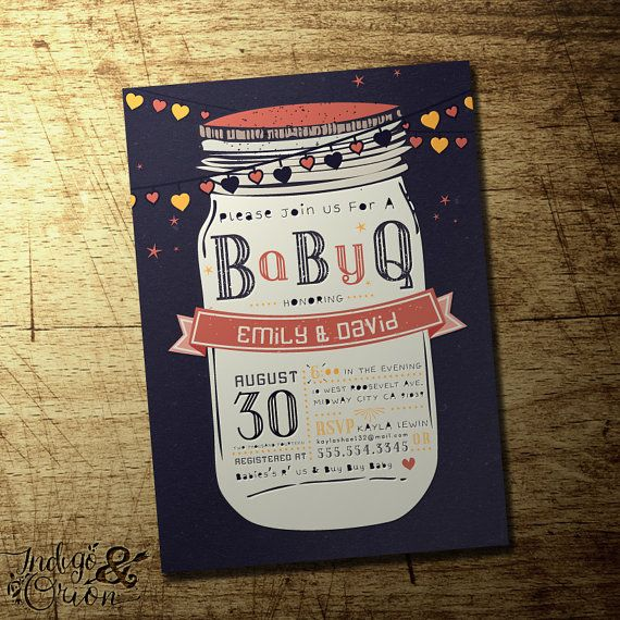 BBQ baby shower/Gender reveal invitation, Mason Jar design