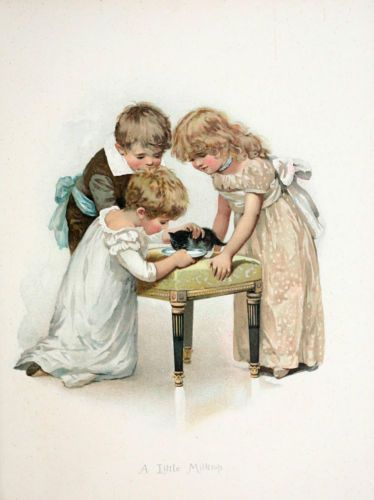 Modern postcard of an illustration by Harriett Mary Bennett - English - late 1800's early 1900's.