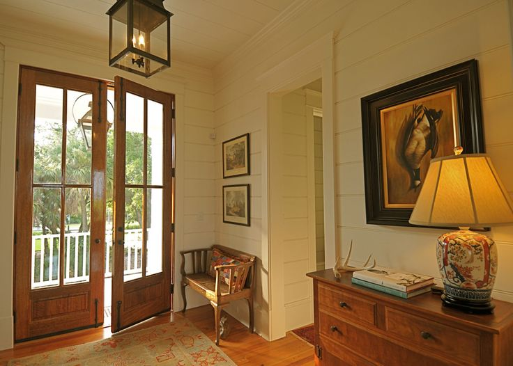 tongue and groove walls in Entry Traditional with console table baseboard