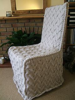 Its great to dress up an old chair . This is a simplistic yet effective chair cover using Essentials Twist Super Chunky by Rico Design. You will need 10 balls of this yarn for this project.