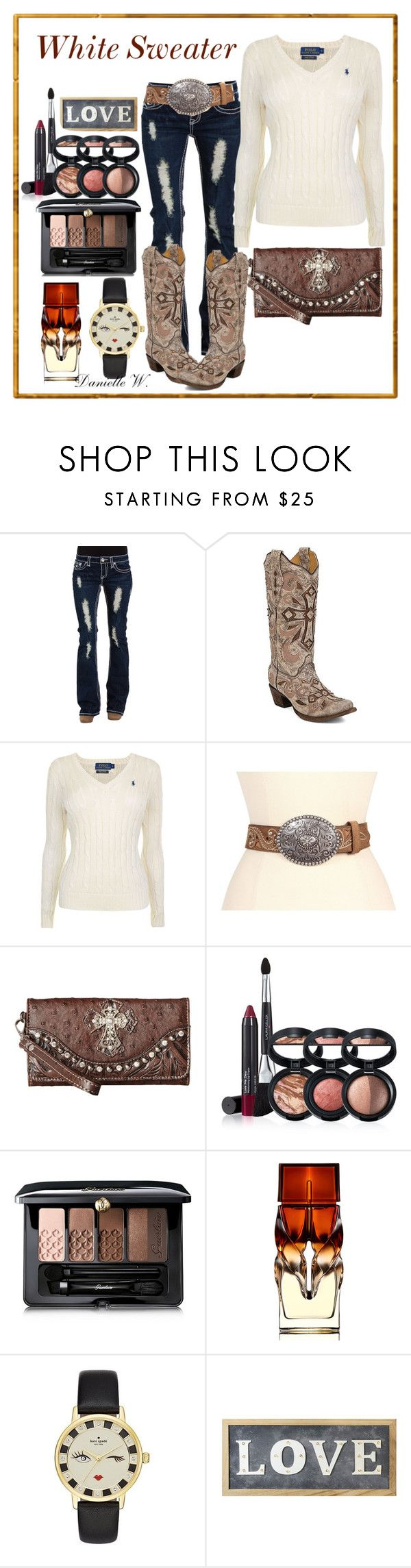"""""""#White Sweater"""" by willfongdanielle ❤ liked on Polyvore featuring Corral, Polo Ralph Lauren, Justin, M&F Western, Laura Geller, Guerlain, Christian Louboutin, Kate Spade and Parlane"""