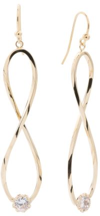 Made In Italy 14k Gold With Cubic Zirconia Infinity Earrings