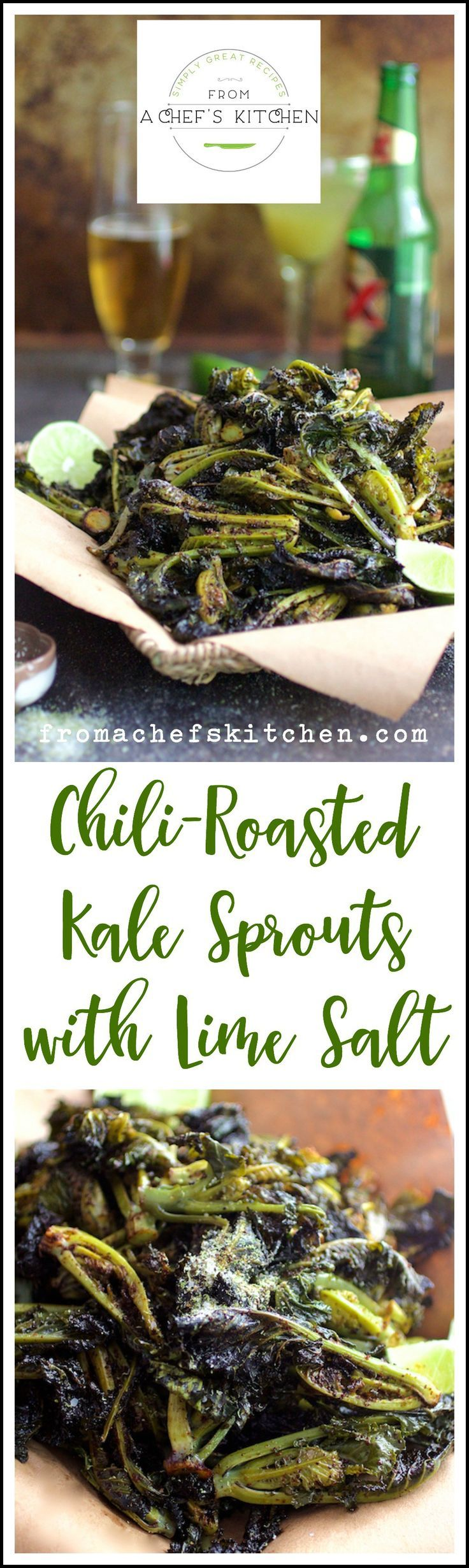 Chili-Roasted Kale Sprouts with Lime Salt - Superfood becomes super snack and perfect for Cinco de Mayo!