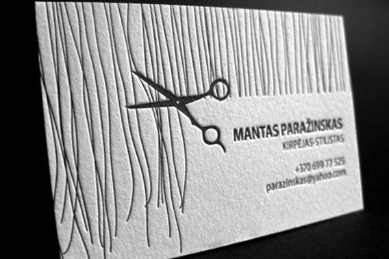 Simple but beautiful Letterpress Hair Stylist Business Card printed in 1 color on 300 gsm pure cotton paper.