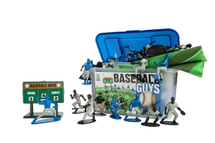 Kaskey Kids Baseball Guys Action Figure, Black/Blue. INSPIRES IMAGINATION: Kaskey Kids gives children time to be creative, engaging them in creative play where they control the action. Like all Kaskey Kids sports guys, this set is a complete bundle of baseball action figures that make up two full teams, a realistic felt field, and other cool accessories packed into a handy storage container. OPEN-ENDED PLAY: Research shows open-ended play with no defined expectations or rules is…