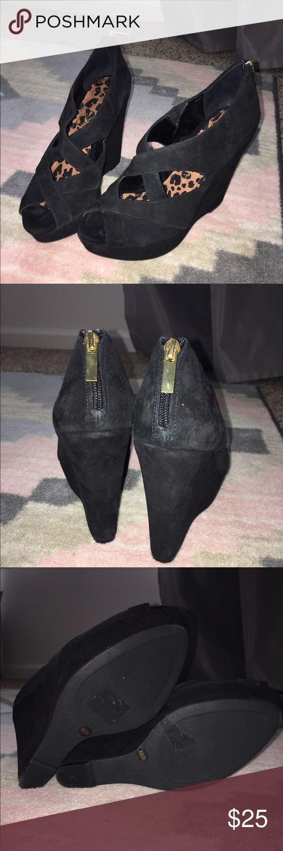 Jessica Simpson Black Suede Wedges Black suede Jessica Simpson Wedges. Worn once. Jessica Simpson Shoes Heels