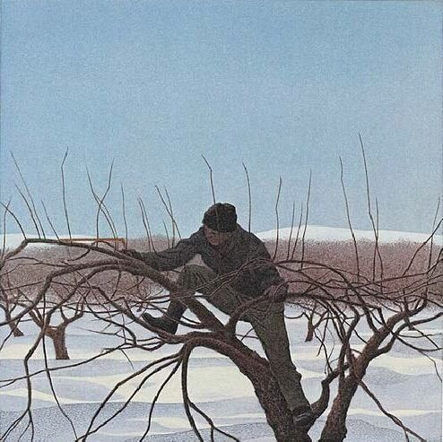 """Alex Colville (Canadian, 1920 - 2013) - """"January"""", 1979 - Photolithograph on wove paper, from the portfolio """"A Book of Hours: Labours of the Months"""" - National Gallery of Canada, Ottawa"""