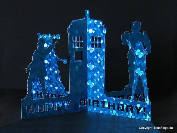 3D Doctor Who Card Dr Who Tardis Birthday Card by NineFingerJo