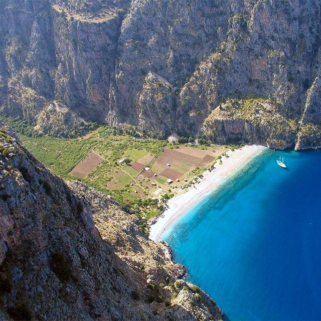 wow this valley looks like the landscape from the brilliant animated movie, Nausicaä of the Valley of the Wind.      Butterfly Valley @ Fethiye, Turkey