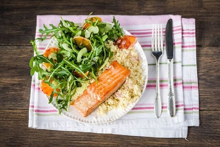 Spiced Salmon with Blood Orange-Arugula Salad, Couscous, and Lemon ...