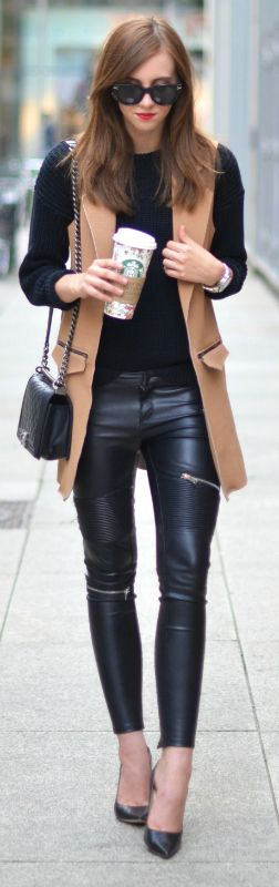 These tight leather leggings go perfectly with Barbora Ondrackova's camel waistcoat.   Sweater: American Apparel, Leggings: Zara, Vest: Topshop, Heels: Jimmy Choo, Bag: Chanel.