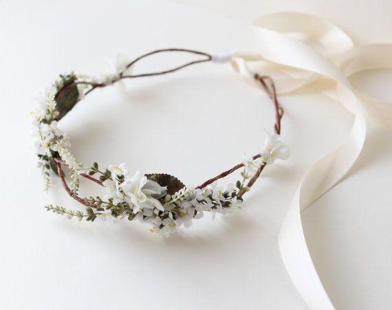 Woodland bridal hair crown, Flower crown, boho wedding head piece, white flower crown, Bridal headpiece - SONATA