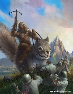 Greatest work of art of all time, Chewbacca riding a giant squirrel killing nazis!