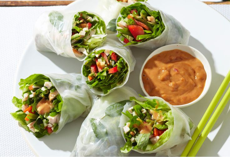Fresh flavours abound in these fresh spring rolls with a creamy, peanutty sauce.