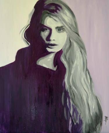 Cara Delevingne - Purple Mood #caradelevingne #art #painting #portrait
