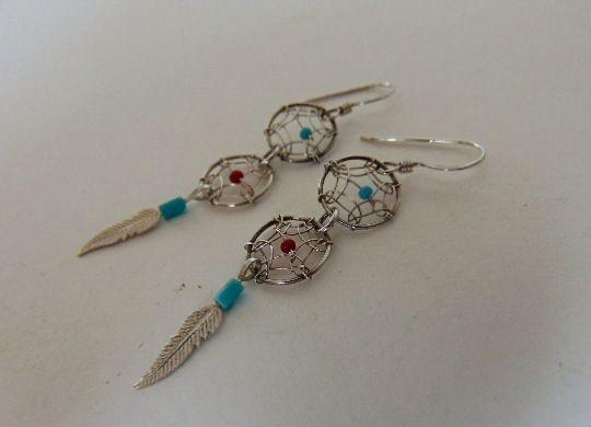 NAVAJO 925 zilver dromenvanger oorbellen turquoise en coral