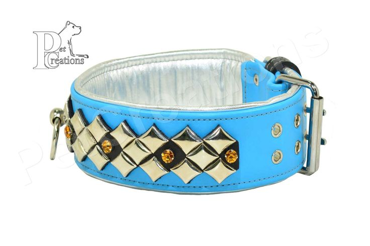 Handmade leather dog collar with metal diamond and rhinestone finishes - width 7cm by HandmadePetCreations on Etsy