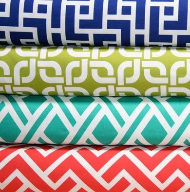 HoneyBeGood online fabric store Decorating with these bold colors is pure fun !! Check out Color911 app to see what colors to use with these beautiful bold patterns.  Color911.com #Color #Home #Decor