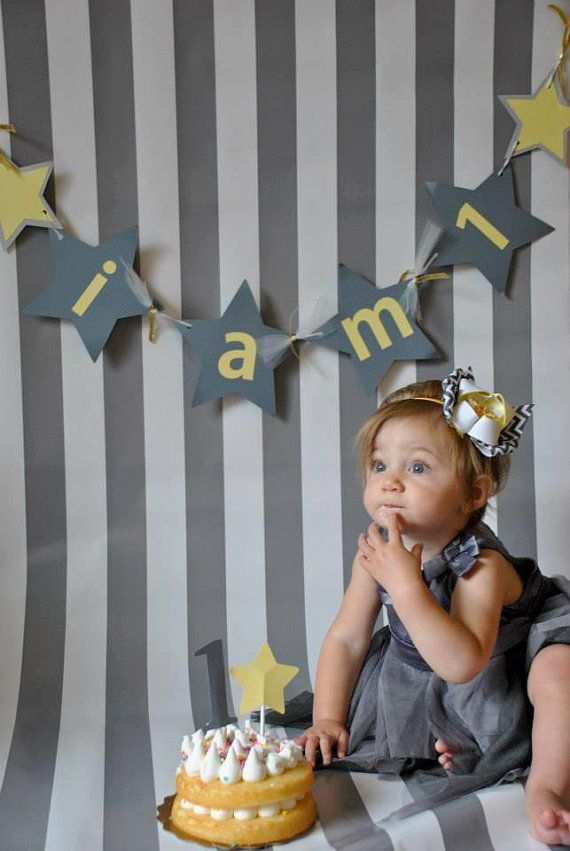 I am 1 Banner  Yellow and Grey Stars by JKreations2013 on Etsy, $14.00