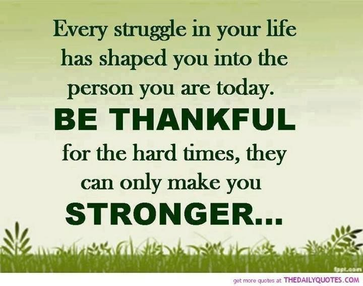 Every Struggle In Your Life Has Shaped You Into The Person You Are Today.  Be Thankful For The Hard Times, They Can Only Make You Stronger.