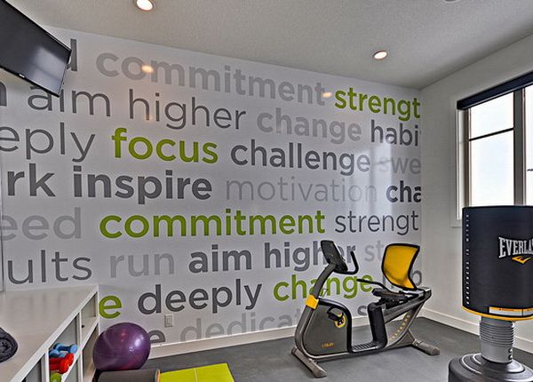 Contemporary Home Gym With Wallpaper Decorating Decorative Home Gym Wall Murals Painting