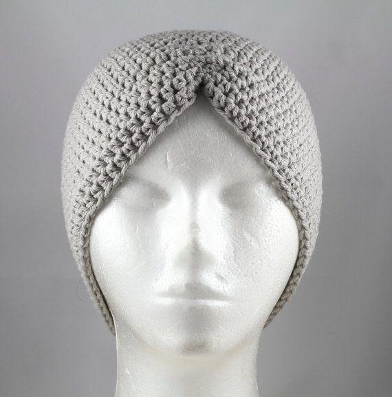 Stone grijs tulband hoed voor van TheCardcraftersCove op Etsy