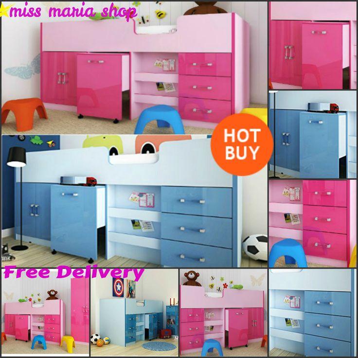 Bunk Bed With Storage Desk Blue Pink Children Bedroom Furniture MidSleeper Cabin