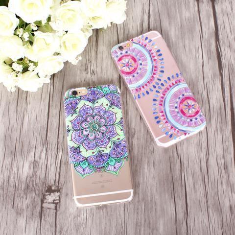 Colorful Paisley / Mandala Clear Silicone Soft Cover Case - iPhone 7/6/6S/7lus/6Plus/6sPlus