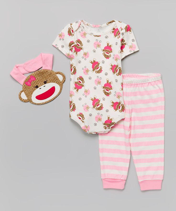 """Pink Sock Monkey Bodysuit Set """"Repinned By Keva Xo"""