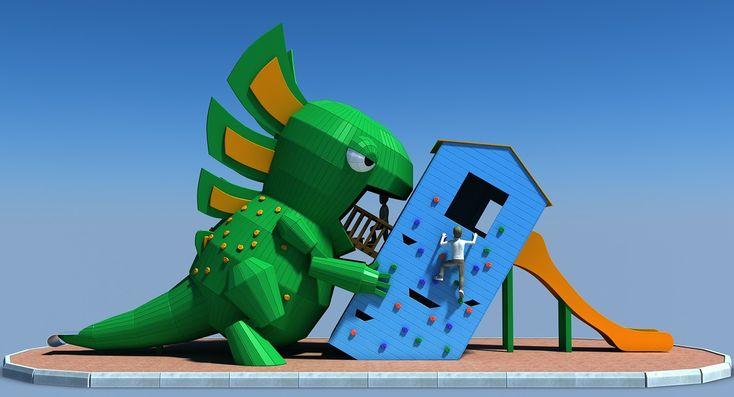 Playground Godzilla, Oleg Zhevelev on ArtStation at https://www.artstation.com/artwork/Lvldv