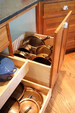 Pot & Pan storage in drawers & roll-out shelves - pots on sides - kitchen - craftsman - kitchen - dc metro - Brennan + Company Architects